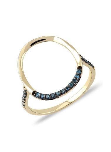Piano Jewellery Cabaret Hoop Mavi Pırlanta Yüzük 14 Ayar Altın